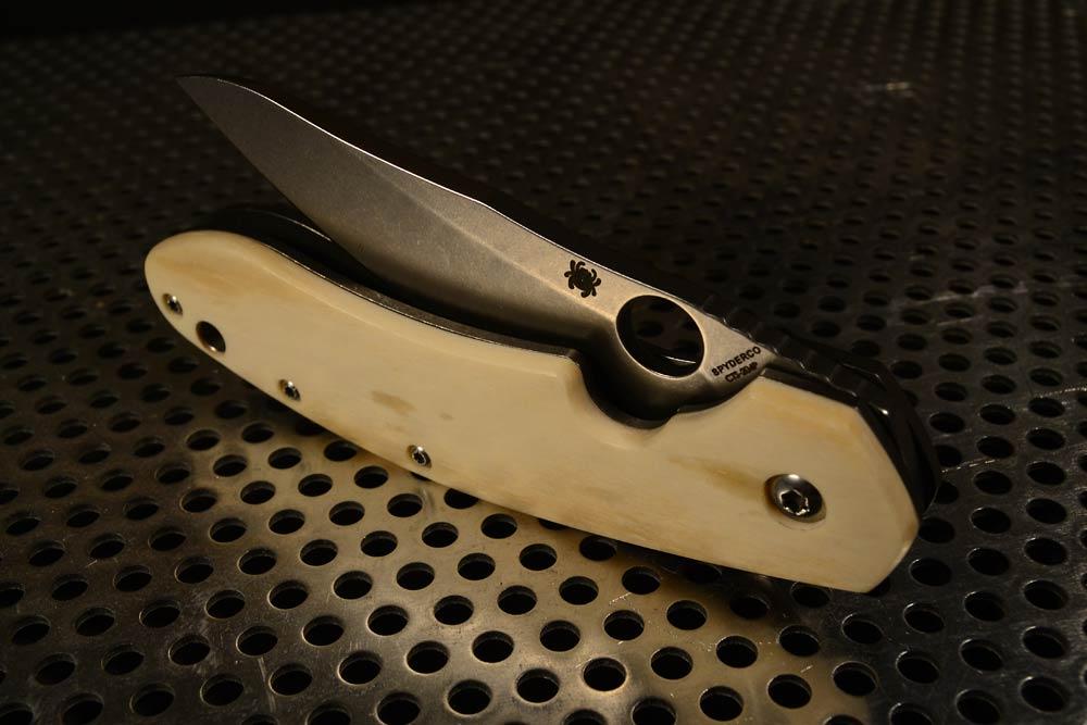 "Spyderco Southard custom scales ""bone"""